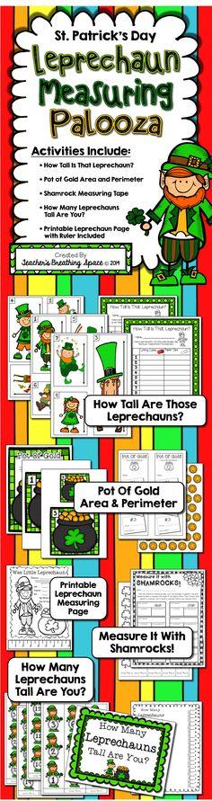 St. Patrick's Day Measuring --- Leprechaun Measuring Palooza! Five fun measuring activities!