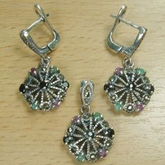 Genuine Ruby Emerald Sapphire 925 Sterling Silver Cocktail Jewelry Set