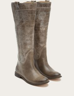 Shop handcrafted leather boots for women, including iconic styles from Frye. Tall Riding Boots, Leather Riding Boots, Tall Boots, Shoe Boots, Frye Shoes, Grey Leather, Leather Heels, Over The Knee Boot Outfit