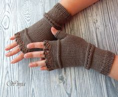 Knitted fingerless gloves Knitted mittens Arm by OnGoodLuck