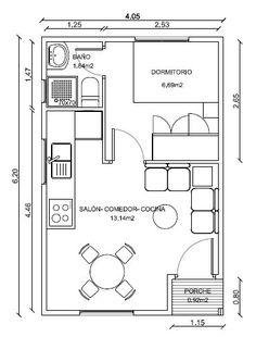Simpático modelo de casa de madera de 25 el cual cuenta con un dormitorio Small Apartment Layout, Studio Apartment Floor Plans, Studio Apartment Layout, Bedroom Floor Plans, Apartment Plans, Apartment Design, Plan Chalet, Small House Floor Plans, Flat Ideas