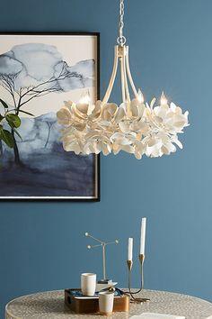 Magnolia Chandelier by Anthropologie in White, Lighting Flower Chandelier, White Chandelier, Chandelier Lighting, Chandeliers, Seashell Chandelier, Capiz Chandelier, Unique Lighting, Home Lighting, Lighting Design