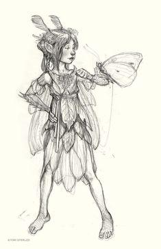 Tony's Sketchbook – Tony DiTerlizzi Fairy Drawings, Fantasy Drawings, Love Drawings, Art Drawings Sketches, Drawing Faces, Fantasy Art, Fairytale Drawings, Pencil Drawings, Girls Manga