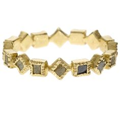 trdr605 | 18ky gold with 2mm raw diamond cubes (.912ctw.)