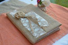 Wedding Hessian Guest Book Lace Burlap Favors Handmade