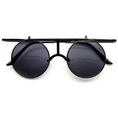 3b9188c6c7 Steampunk Vintage Inspired Crossbar Flip Up Metal Sunglasses 8972