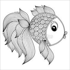 Modelo para libro de colorear. Cute dibujos animados peces. — Vector de stock
