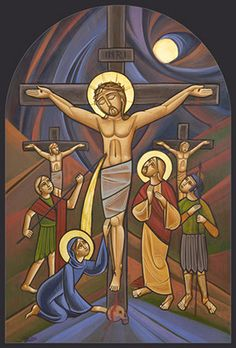 Crucifixion Coptic Orthodox Icon by Iconographer Mr. Images Of Christ, Religious Images, Religious Icons, Religious Art, Religion Catolica, Byzantine Icons, Biblical Art, Catholic Art, Orthodox Icons