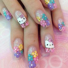 hello kitty Cute Nail Art Designs, Red Nail Designs, Purple Nails, Bling Nails, Pastel Nails, Chrome Nail Art, Hello Kitty Nails, Nails For Kids, Cat Nails