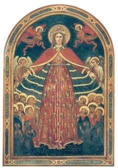 Madonna della Misericordia,1412 Battista da Vicenza e bottega (Vicenza 1375 08.-1438) Madonna della Misericordia,1412 tempera su tela; 167 x 255 cm iscrizioni: alla base M.CCCC.XII HOC OPUS FECIT FIERI FRATALEA BEATAE MARIAE SEMPER VIRGINIS ET SANCTORUM APOSTOLORUM;