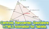GeoGebra Dynamic Geometry: Centroid of a Triangle. HTML5 Animation for Tablets (iPad, Nexus..)