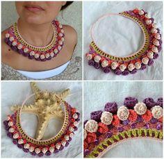 Crochet Jewellery, Textile Jewelry, Crochet Necklace, Art Desk, Textiles, Macrame, Stitches, Jewelery, Knitting