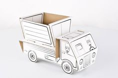 Truck - three-dimensional cardboard toy that can be colored by children