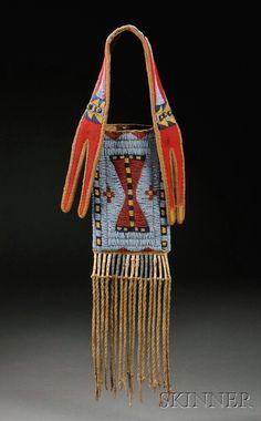 Plains Beaded Buffalo Hide Mirror Bag, c. last quarter 19th century