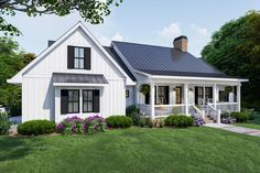 This country home plan boasts classic, bright-white board and batten siding with dark window sashes and corresponding shutters. The welcoming front porch ushers guests inside where a thoughtful floor