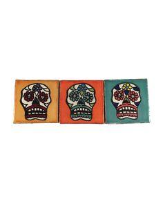 Flower Skull Ceramic Magnet Set