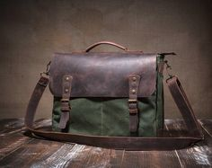 Messenger bag - canvas messenger bag - waxed canvas messenger - leather messenger bag - messenger bag men -mens messenger bag -crossbody bag