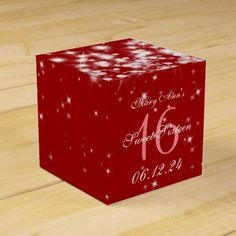 Elegant Sweet Sixteen Winter Sparkle Red Favor Box
