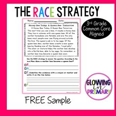 Grade Writing with the RACE Strategy Free Sample Races Writing Strategy, Race Writing, 3rd Grade Writing, Middle School Writing, Writing Strategies, Third Grade, Paragraph Writing, Opinion Writing, Persuasive Writing