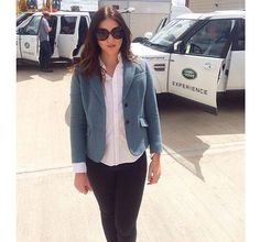 Model Nia on the set of the latest Land Rover commercial in her Windsor & Wales KINGFISHER tweed jacket.