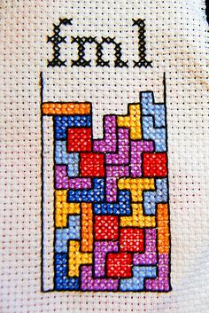Cross Stitch Design Brilliant Tetris x-stitch! - Somehow I got the centering all wrong, so I have to make a new one in order to frame it. Anyway, I really like how this turned out! Cross Stitching, Cross Stitch Embroidery, Embroidery Patterns, Sewing Patterns, Cross Stitch Quotes, Cross Stitch Boards, Modern Cross Stitch Patterns, Cross Stitch Designs, Crochet Cross