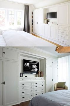 How to build a closet from wall to wallHow to build a wall-to-wall closet: Store more material in a closet with doors The family artisanLove the colors and fun of this DIY makeover crafting cabinet. Spare Bedroom Closets, Bedroom Built Ins, Closet Built Ins, Bedroom Closet Design, Tv In Bedroom, Trendy Bedroom, Bedroom Storage, Master Closet, Built In Bedroom Cabinets