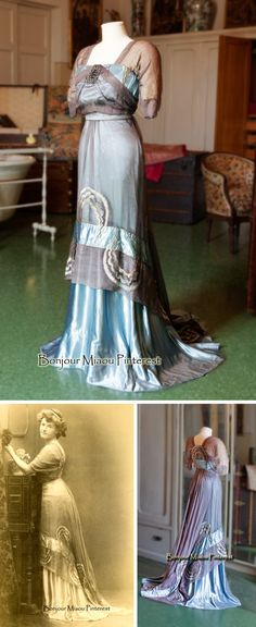 Evening dress, Callot Soeurs, spring 1909. Pale blue silk satin and grey chiffon, two pieces, with marcasite ornament on breast.