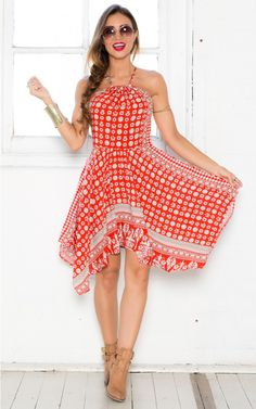 Tribal Time Dress in Red Print | SHOWPO Fashion Online Shopping