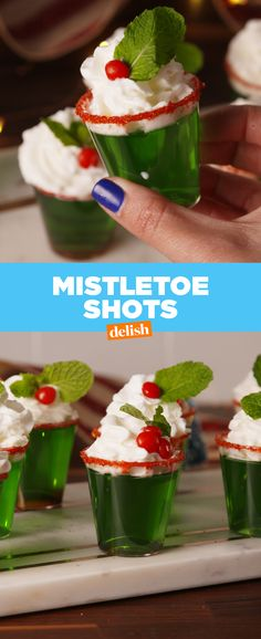 These are perfect for those holiday party hookups Get the recipe at Delish.com. #mistletoe #jello #shot #shots #jelloshots #booze #alcohol #cocktail #holiday #holidaydrink #christmas #menuideas #recipe #easyrecipe #drinking