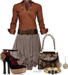 """""""Taupe Skirt"""" by christa72 on Polyvore"""