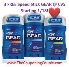 PRINT NOW to Score 3 FREE Speed Stick GEAR Deodorant @ CVS Starting on 1/18! ► http://www.thecouponingcouple.com/3-free-speed-stick-gear-deodorant/  #ExtremeCouponing #Coupons #Couponing #CouponingCommunity  Visit us at http://www.thecouponingcouple.com for more great posts!