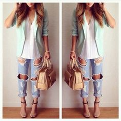 Mint blazer with ripped jeans and white blouse. Cute and casual outfit for spring.