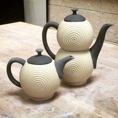 Painted with black slip, and off to the kiln. #ceramics #pottery #teapot #stoneware #greenware #handmade #wheelthrown #workinprogress #wip #PIAtea