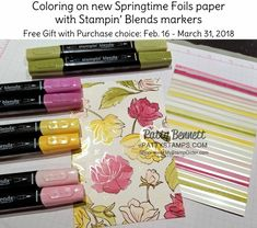 Color the Gorgeous Springtime Foils paper with your Stampin' Blends... or not! :) The foil detail is amazing! Stampin' UP! Sale-a-Bration 2018 part 2!! Feb. 16, to March 31, 2018!! 3 more free gift choices!! Shop online and earn gifts!! www.MyStampOrder.com