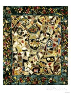 Pieced and Embroidered Silk and Velvet Crazy Quilt, American, Late 19th Century Posters - AllPosters.ca