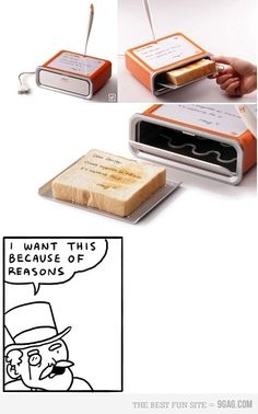 """this is amazing... they really need to make this more than a concept... I would make spy toast every single morning. """"destroy after eating."""""""
