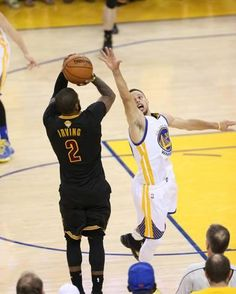 Former Cavaliers Guard Kyrie Irving scores the go-ahead 3 pointer for the Cleveland Cavaliers right in the face of Stephen Curry in Game 7 of the 2016 NBA Finals Basketball Pictures, Sports Basketball, Basketball Players, Basketball Jones, Nba Pictures, Action Pictures, Basketball Drills, Soccer, Nba Finals Game