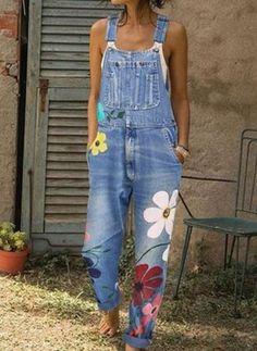 Casual Denim Jumpsuit Big Pocket Graffiti Multi-Color Nine-Point Bib Casual Strap Sleeveless Jumpsuits Denim Jumpsuit, Printed Jumpsuit, Floral Jumpsuit, Denim Overalls, Casual Jumpsuit, Denim Pants, Prom Jumpsuit, Harem Jeans, Denim Blouse