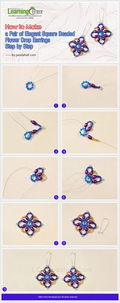 Tutorial on How to Make a Pair of Elegant Square Beaded Flower Drop Earrings Step by Step from LC.Pandahall.com        #pandahall