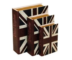 Storage Book - Union Jack (Set of 3)   The Union Jack Storage Book Set is an attractive storage alternative. A storage container designed to look like a fashionable book with a variety of stylish covers, perfect for displaying on coffee tables, shelves or sideboards.  Comes in a set of 3 books.  Small Book Size  Height : 20cm Width : 13cm Depth : 4cm  Medium Book Size  Height : 25cm Width : 16.5cm Depth : 6.5cm  Large Book Size  Height : 30cm Width : 22.5cm Depth : 7.5cm