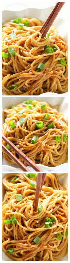 These Peanut Noodles are covered in a flavorful peanut sauce for a unique dish that will have your family begging for more. the-girl-who-ate-everything.com