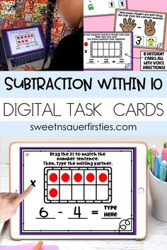 With virtual instruction and distance learning being the new teaching norm, I have created digital subtraction task cards that my kindergarten, 1st grade, and 2nd grade students love! These subtraction within 10 boom cards have students subtract, highlight, drag, and manipulate numbers in order to create interactive, engaging subtraction practice. This set includes 10 self-checking digital task cards that are perfect for distance learning, math centers, or independent work!