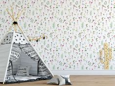 This garden floral wallpaper keeps a relaxing and harmonic atmosphere and that way is ideal in your child's room or any room in your home. Flower Wallpaper, Pattern Wallpaper, Unique Flowers, Flower Patterns, Your Child, Kids Room, Teenagers, Garden, Floral