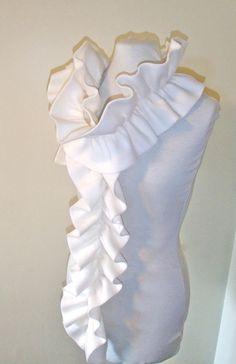 Fleece scarf with elastic ruffle winter white ivory. $10.00, via Etsy.