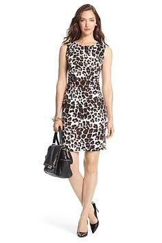 DVF Selene Ruched Silk Jersey Sheath Dress In Snow Cheetah Large