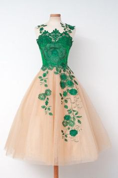Champagne Ball gown Homecoming Dresses with Green Lace Homecoming Dresses , Dresses for Homecoming , Vintage Homecoming Dresses