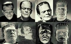 The various Frankenstein monsters throughout history. Bela Lugosi is the worst if you ask me, while Glenn Strange and Boris Karloff are the best. Monster Horror Movies, Classic Monster Movies, Horror Monsters, Classic Horror Movies, Classic Monsters, Horror Film, Classic Films, Scary Characters, Scary Movies