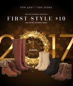 Start 2017 off on the right foot! New JustFab VIPs get their first pair for only $10! First, take our Style Quiz and be whisked away to your own personalized boutique curated just for you. Then, get your favorite style for as low as $10! As a VIP, you'll enjoy up to 30% off the retail price, free shipping on orders over $39, and early access to sales! Just login each month and shop or 'Skip the Month' by the 5th and you won't be charged. Hurry, this offer for new customers won't last long!