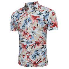 Hawaiian Flower Printing Short Sleeve Turn Down Collar Designer Shirt (285 ARS) ❤ liked on Polyvore featuring men's fashion, men's clothing, men's shirts, men's casual shirts, khaki, men shirts, mens slim fit short sleeve shirts, mens shirts, mens summer shirts and mens long sleeve shirts