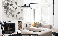 Ideas Living Room Scandinavian Fireplace Firewood For 2019 Scandinavian Style, Scandinavian Fireplace, Scandinavian Interiors, Scandi Chic, Minimalist Scandinavian, Scandi Style, Monochromatic Living Room, Image Deco, White Rooms
